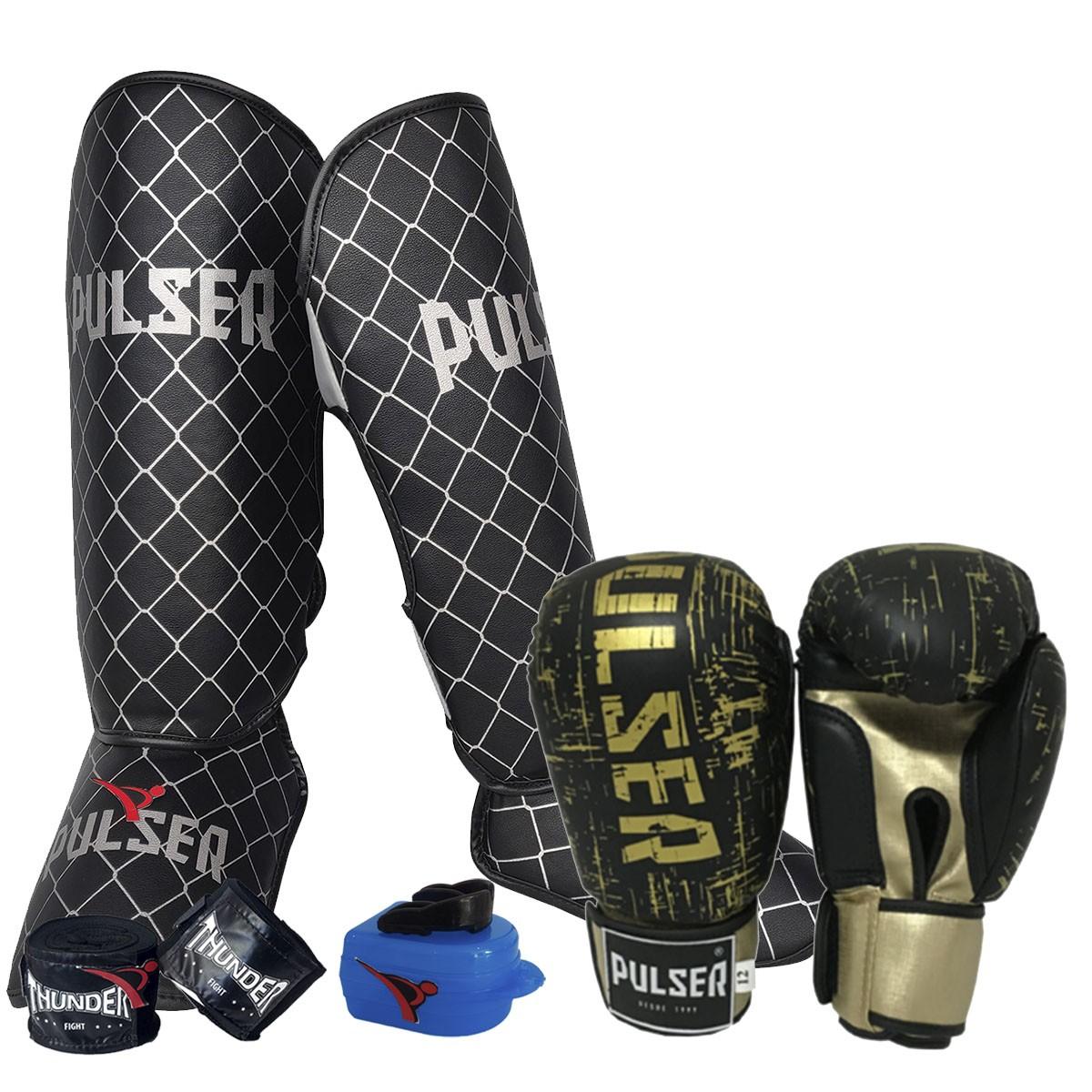 Kit de Muay Thai / Kickboxing 12oz - Preto e Dourado Riscado - Pulser  - PRALUTA SHOP