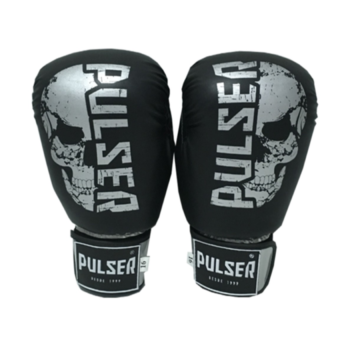 Kit de Muay Thai / Kickboxing 12oz - Preto e Prata Caveira - Pulser  - PRALUTA SHOP