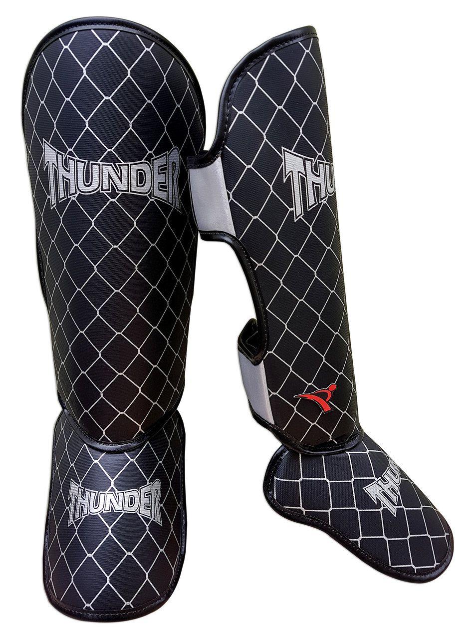 Kit de Muay Thai / Kickboxing 12oz - Vermelho com Branco Maori - Thunder Fight  - PRALUTA SHOP