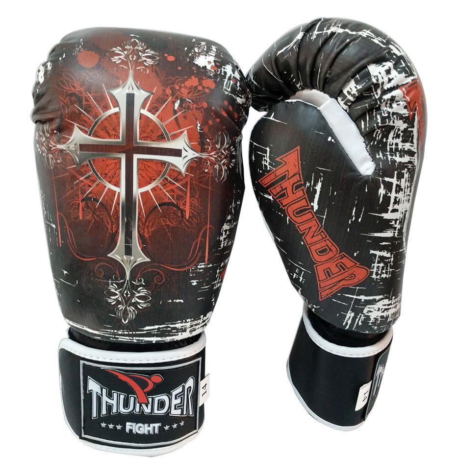 Kit de Muay Thai / Kickboxing 14oz - Caveira e Cruz PT/BR - Thunder Fight  - PRALUTA SHOP