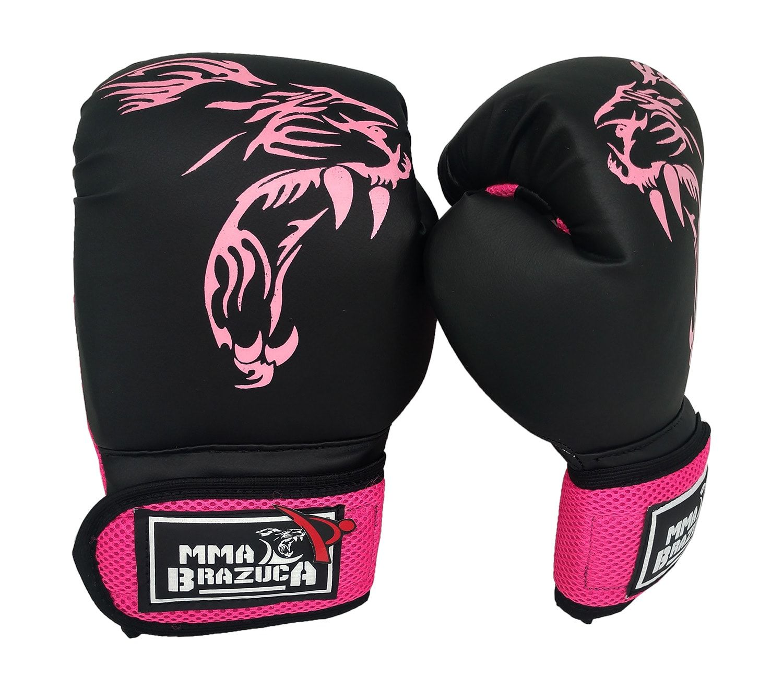 Kit de Muay Thai / Kickboxing 14oz Feminino - Preto com Rosa - MMA Brazuka  - PRALUTA SHOP