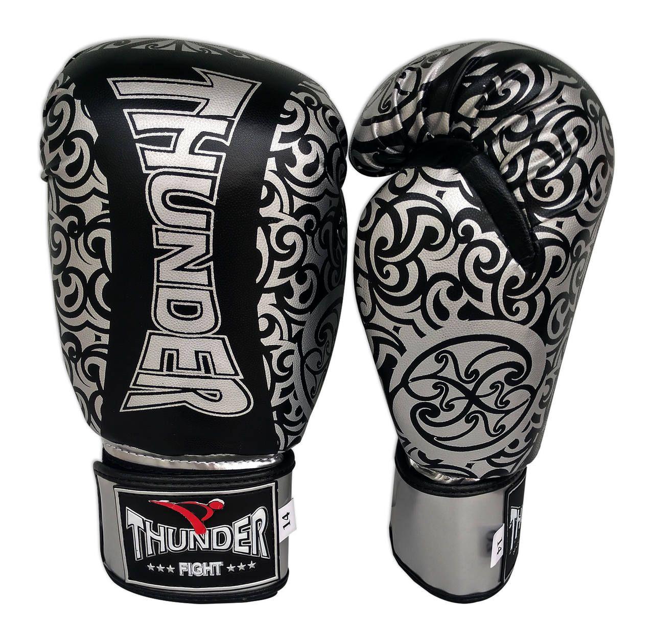 Kit de Muay Thai / Kickboxing 14oz -Preto com Prata Maori - Thunder Fight  - PRALUTA SHOP