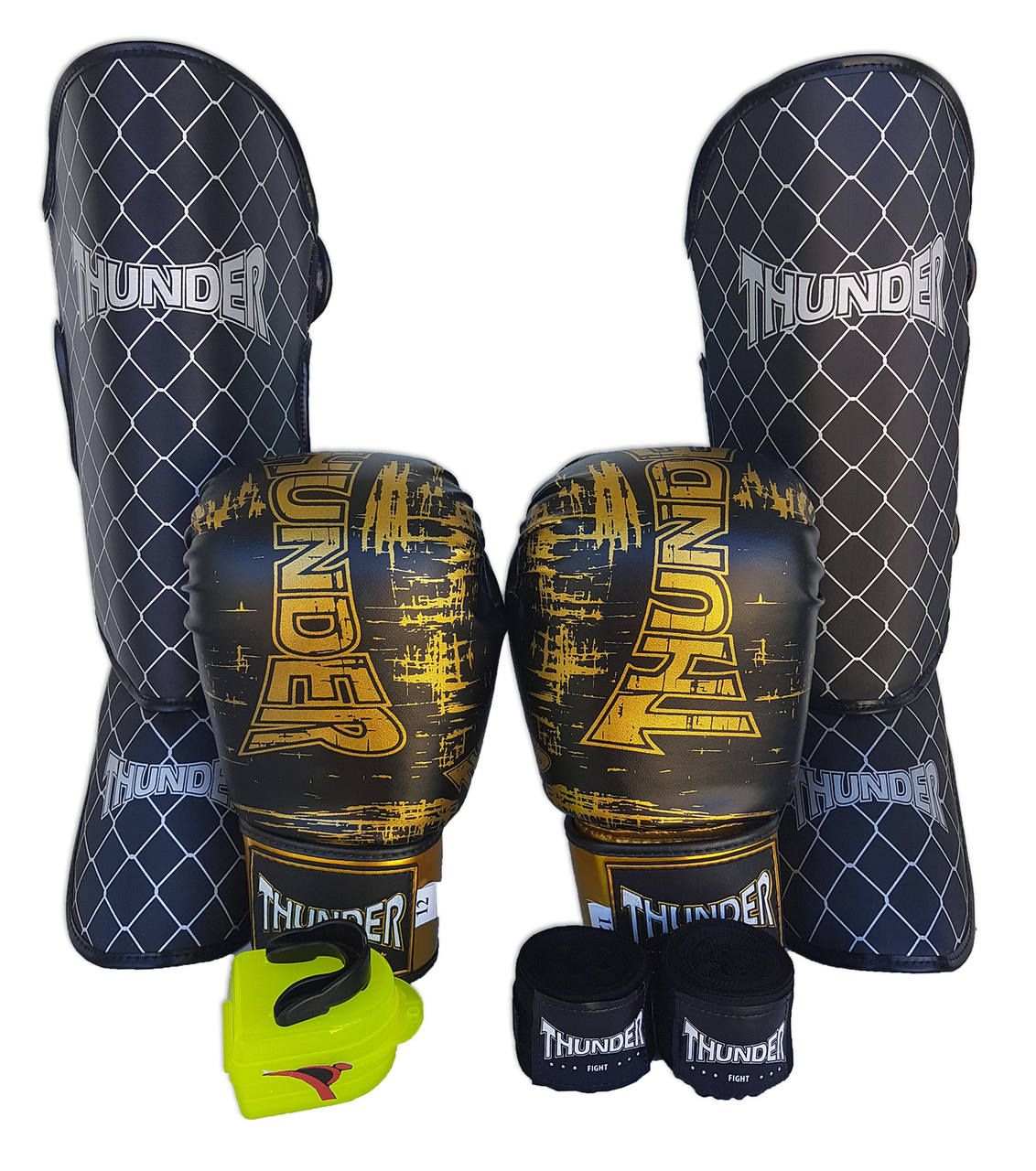 Kit de Muay Thai / Kickboxing 14oz - Preto - Thunder Fight  - PRALUTA SHOP