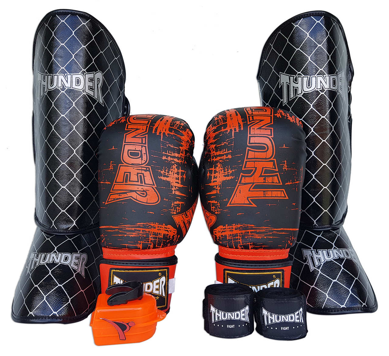 Kit de Muay Thai / Kickboxing 16oz - Preto - Thunder Fight - PRALUTA SHOP