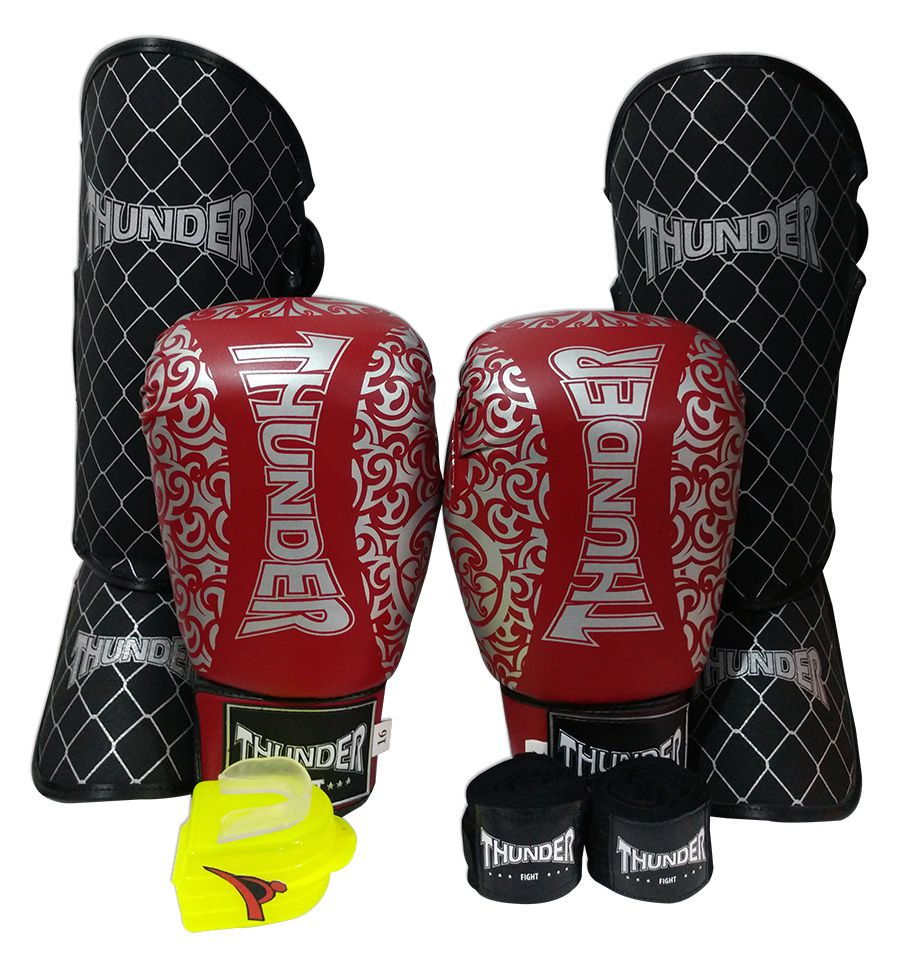 Kit de Muay Thai / Kickboxing 16oz - Vermelho com Prata Maori - Thunder Fight  - PRALUTA SHOP