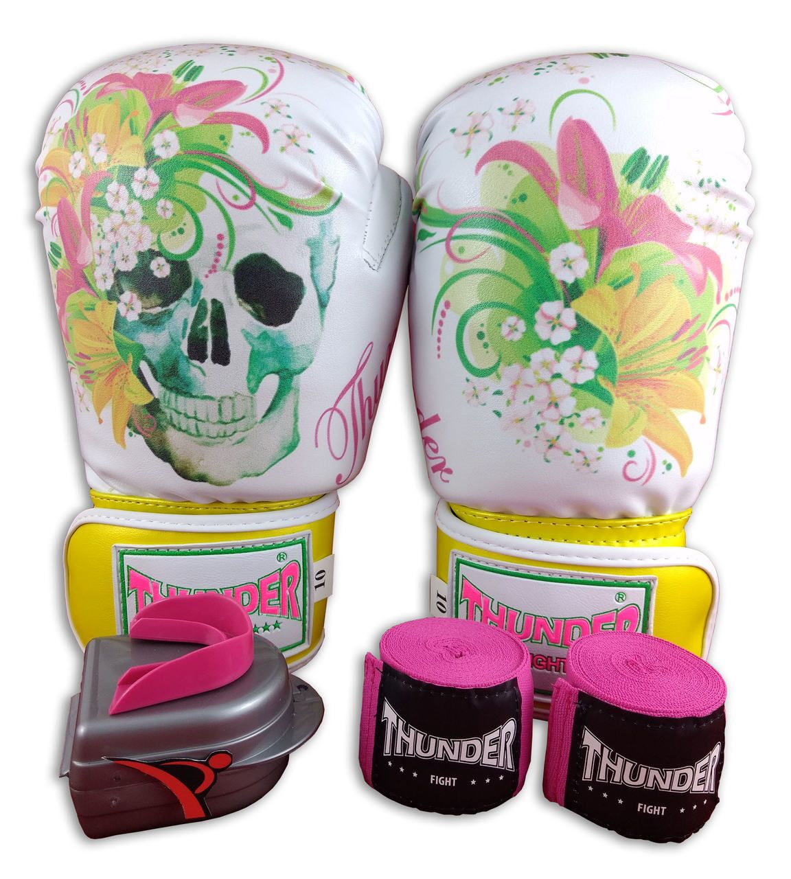 Kit de Muay Thai / Kickboxing Feminino 10oz - Caveira Amarela - Thunder Fight  - PRALUTA SHOP