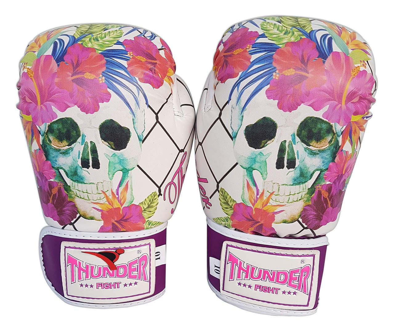 Kit de Muay Thai / Kickboxing Feminino 10oz - Caveira Grade - Thunder Fight  - PRALUTA SHOP