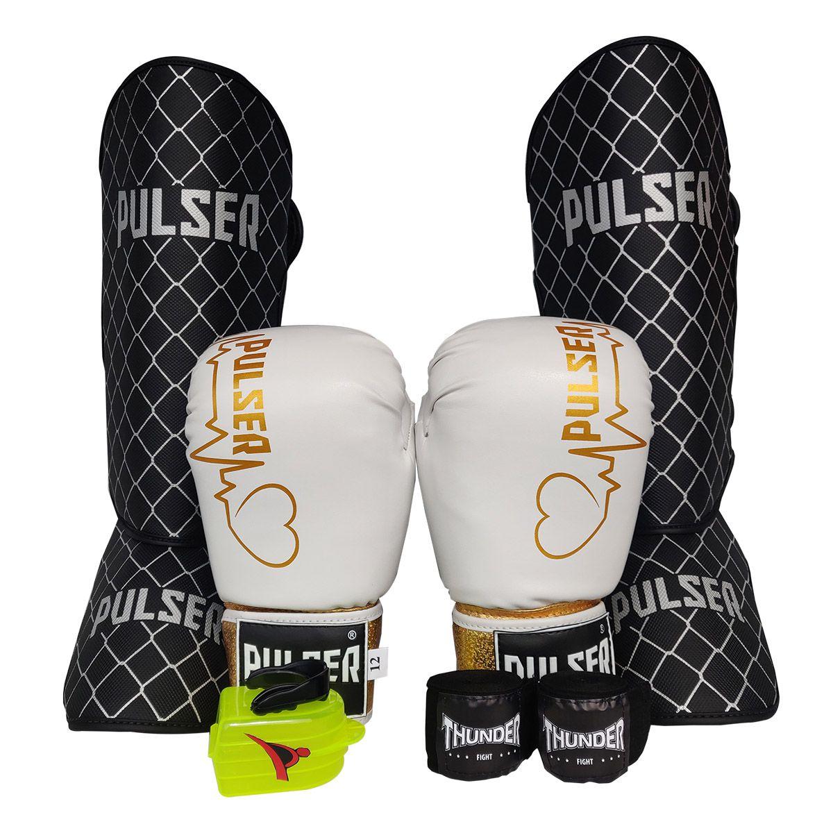 Kit de Muay Thai / Kickboxing Feminino 10oz - Preto e Branco Coração - Pulser  - PRALUTA SHOP