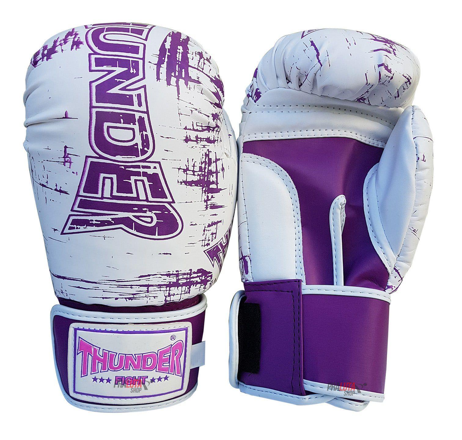 Kit de Muay Thai / Kickboxing Feminino 12oz - Branco Riscado Lilás - Thunder Fight  - PRALUTA SHOP