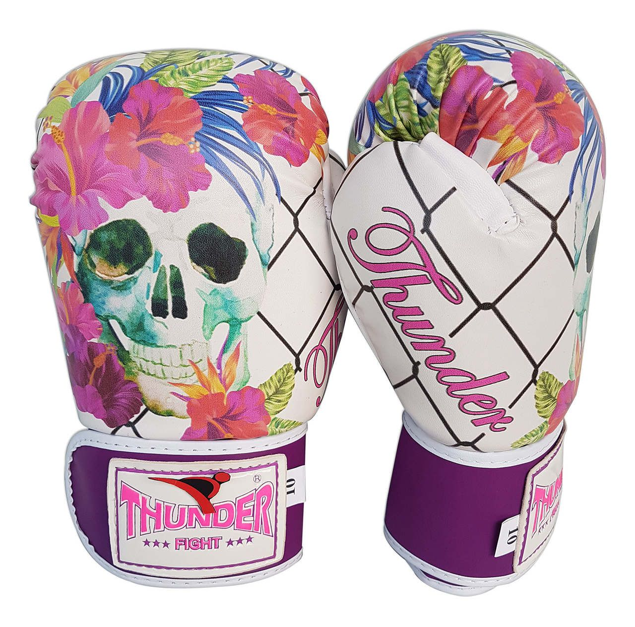 Kit de Muay Thai / Kickboxing Feminino 12oz - Caveira Grade - Thunder Fight  - PRALUTA SHOP