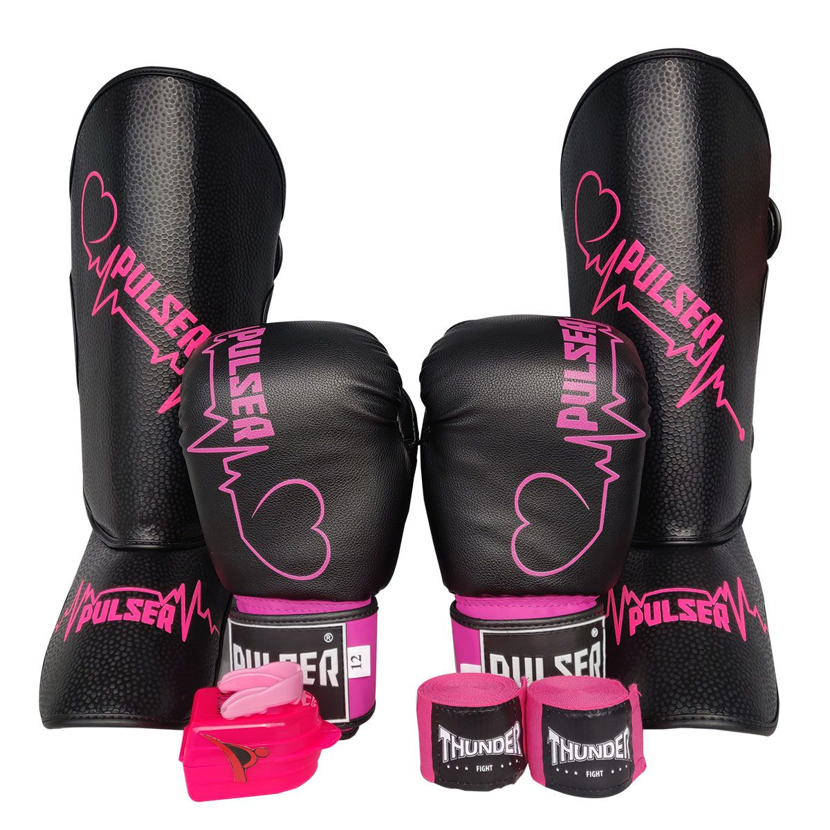 Kit de Muay Thai / Kickboxing Feminino 12oz - Preto com Rosa Coração - Pulser  - PRALUTA SHOP