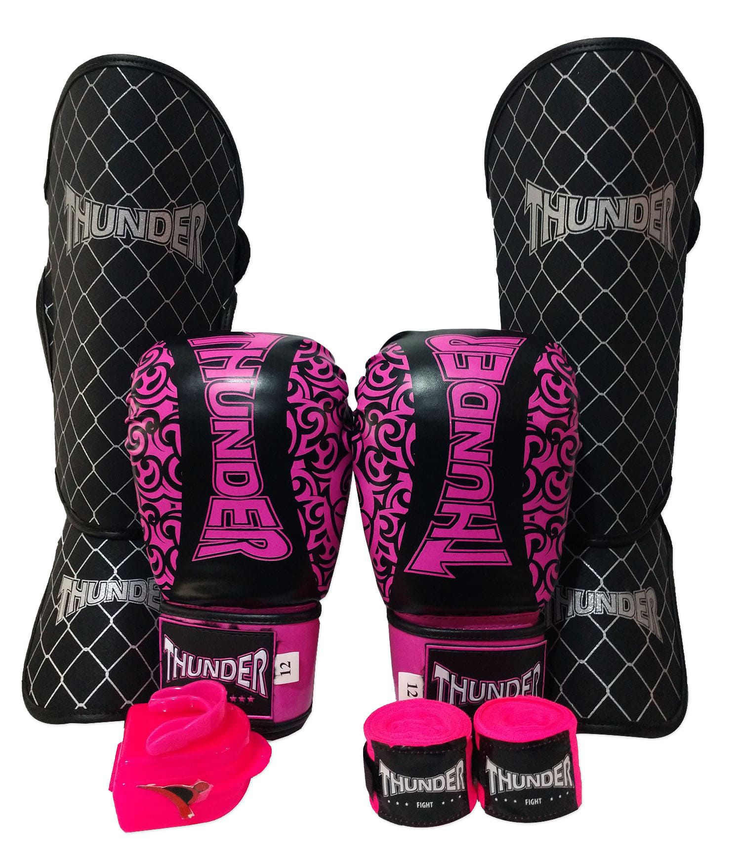 Kit de Muay Thai / Kickboxing Feminino 12oz - Preto e Rosa Maori - Thunder Fight  - PRALUTA SHOP