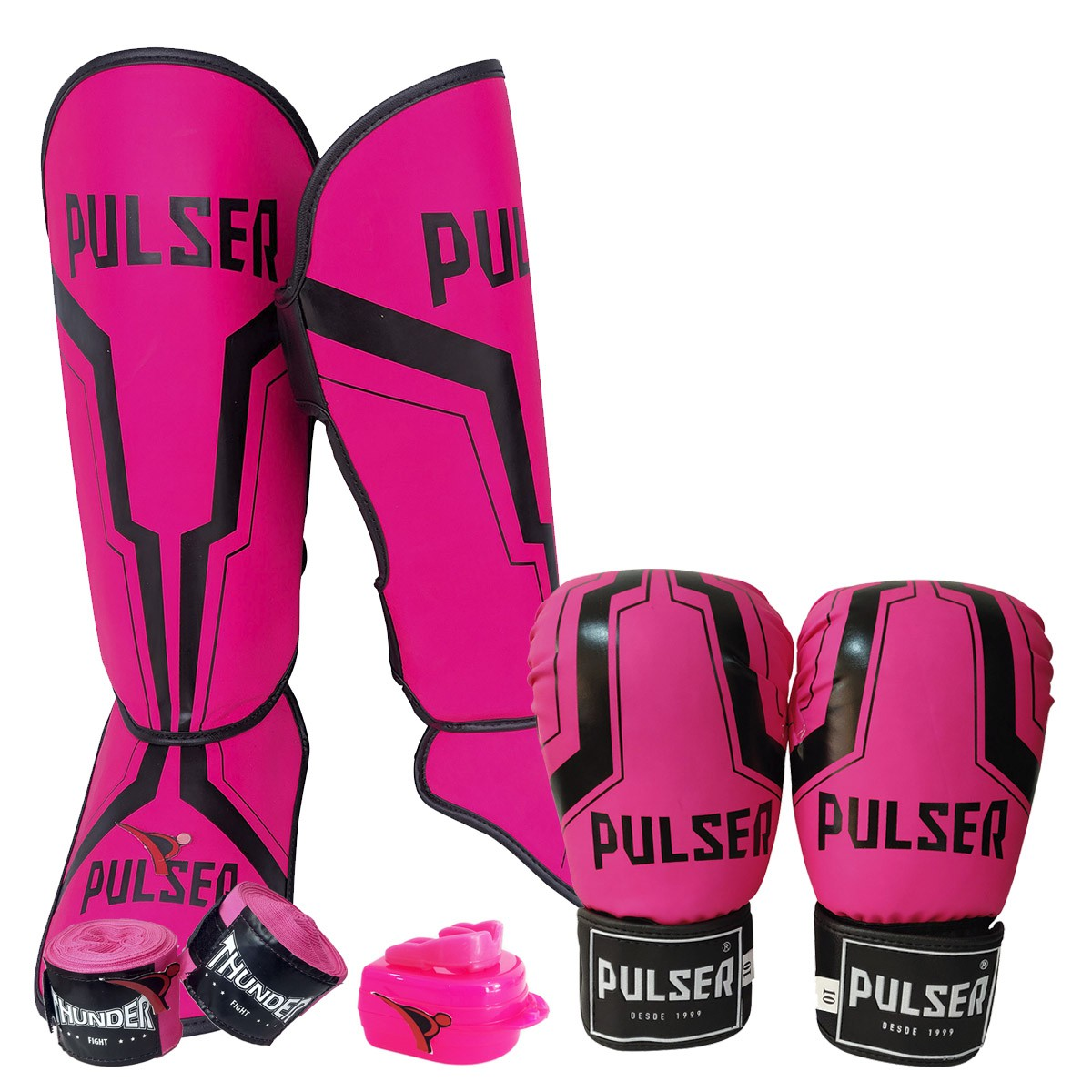 Kit de Muay Thai / Kickboxing Feminino 12oz - Rosa Iron - Pulser  - PRALUTA SHOP