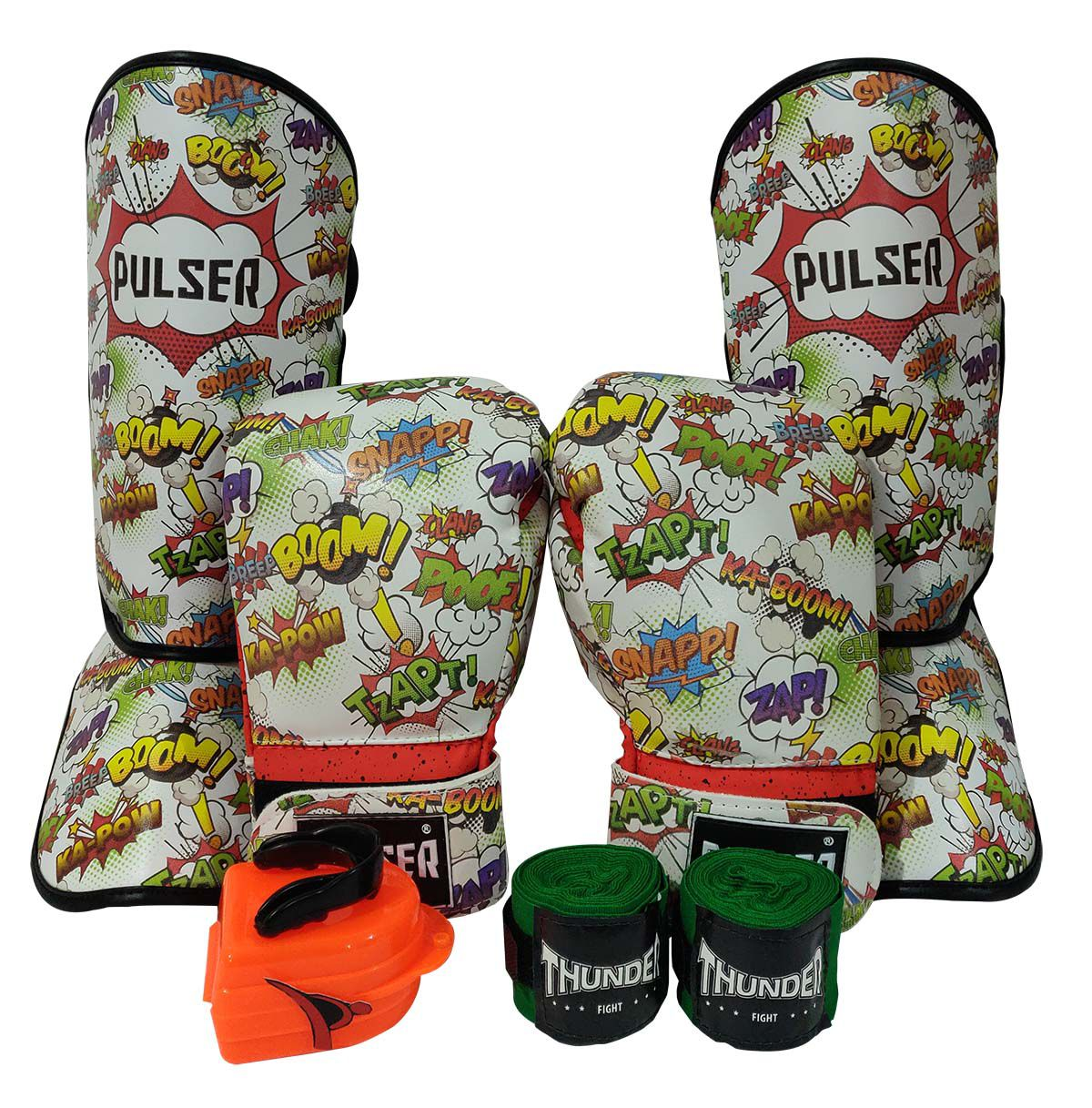 Kit de Muay Thai / Kickboxing Infantil 6oz - Comic - Thunder Fight  - PRALUTA SHOP
