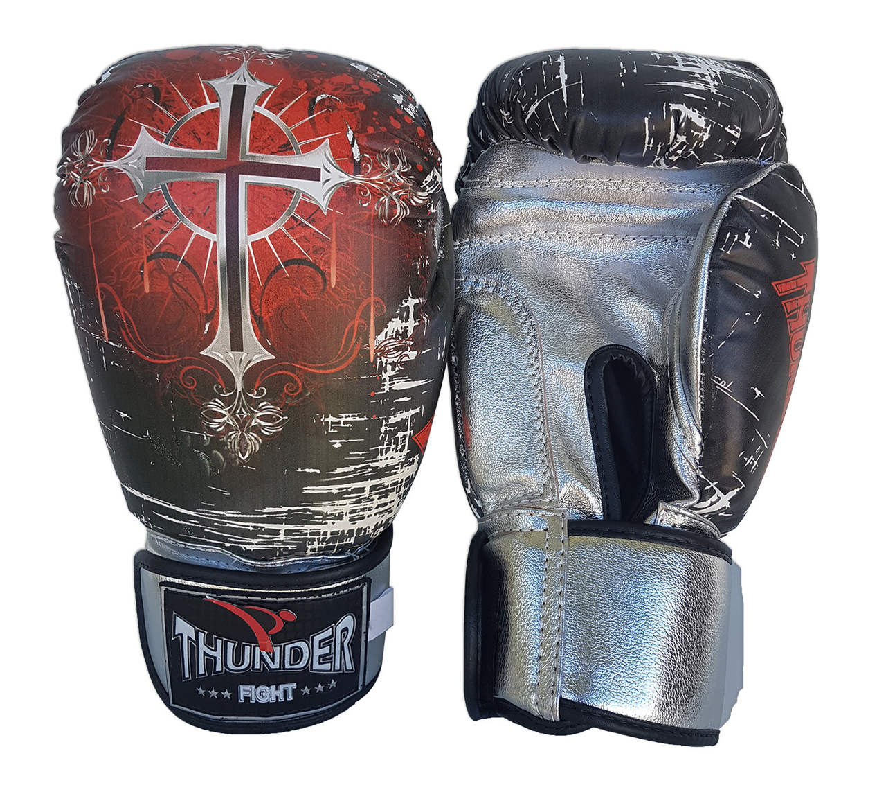 Luva de Boxe / Muay Thai 10oz - Caveira / Cruz - Thunder Fight  - PRALUTA SHOP