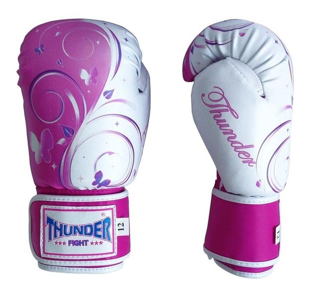 Luva de Boxe / Muay Thai 10oz Feminina - Borboleta Rosa - Thunder Fight  - PRALUTA SHOP