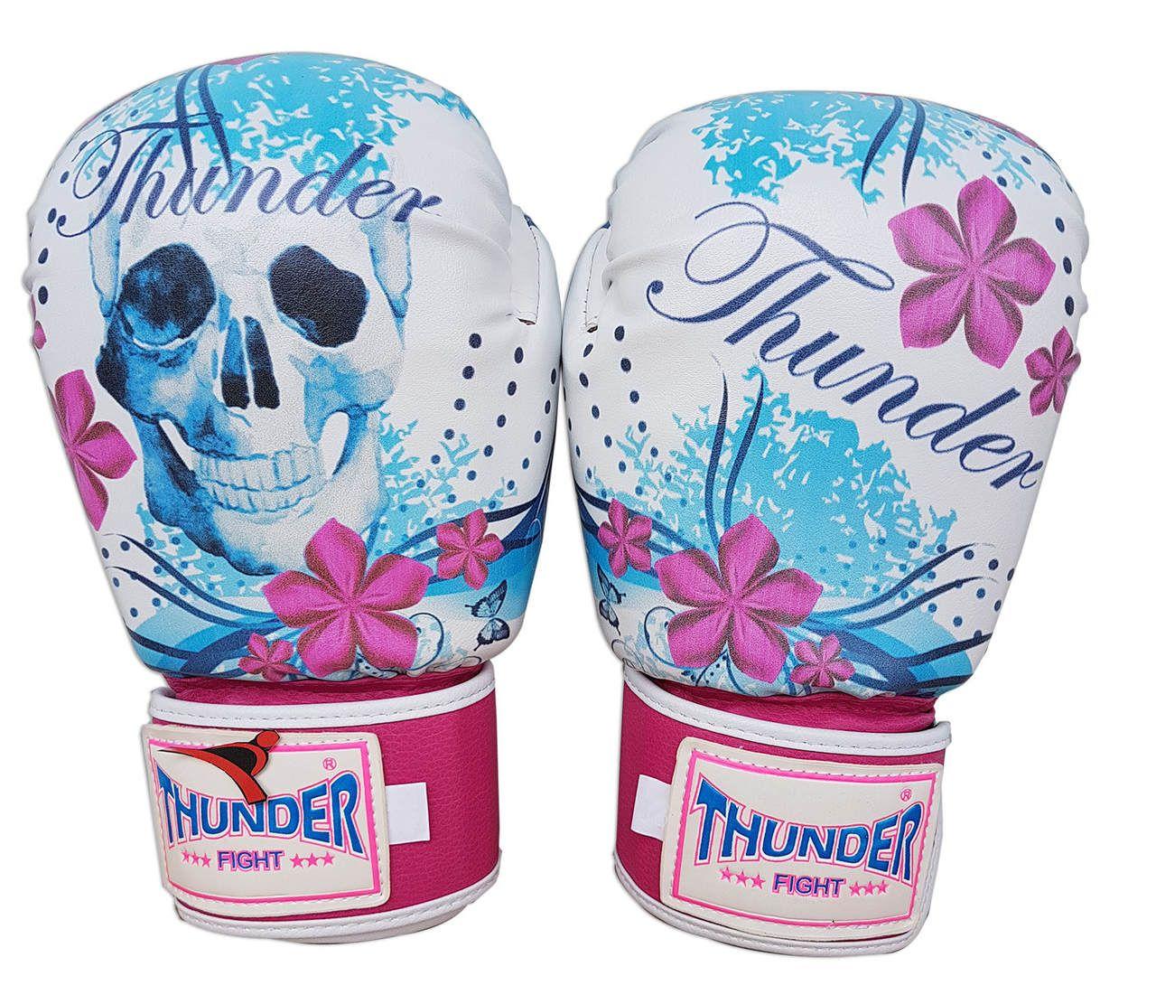 Luva de Boxe / Muay Thai 10oz Feminina - Caveira Azul com Rosa - Thunder Fight  - PRALUTA SHOP