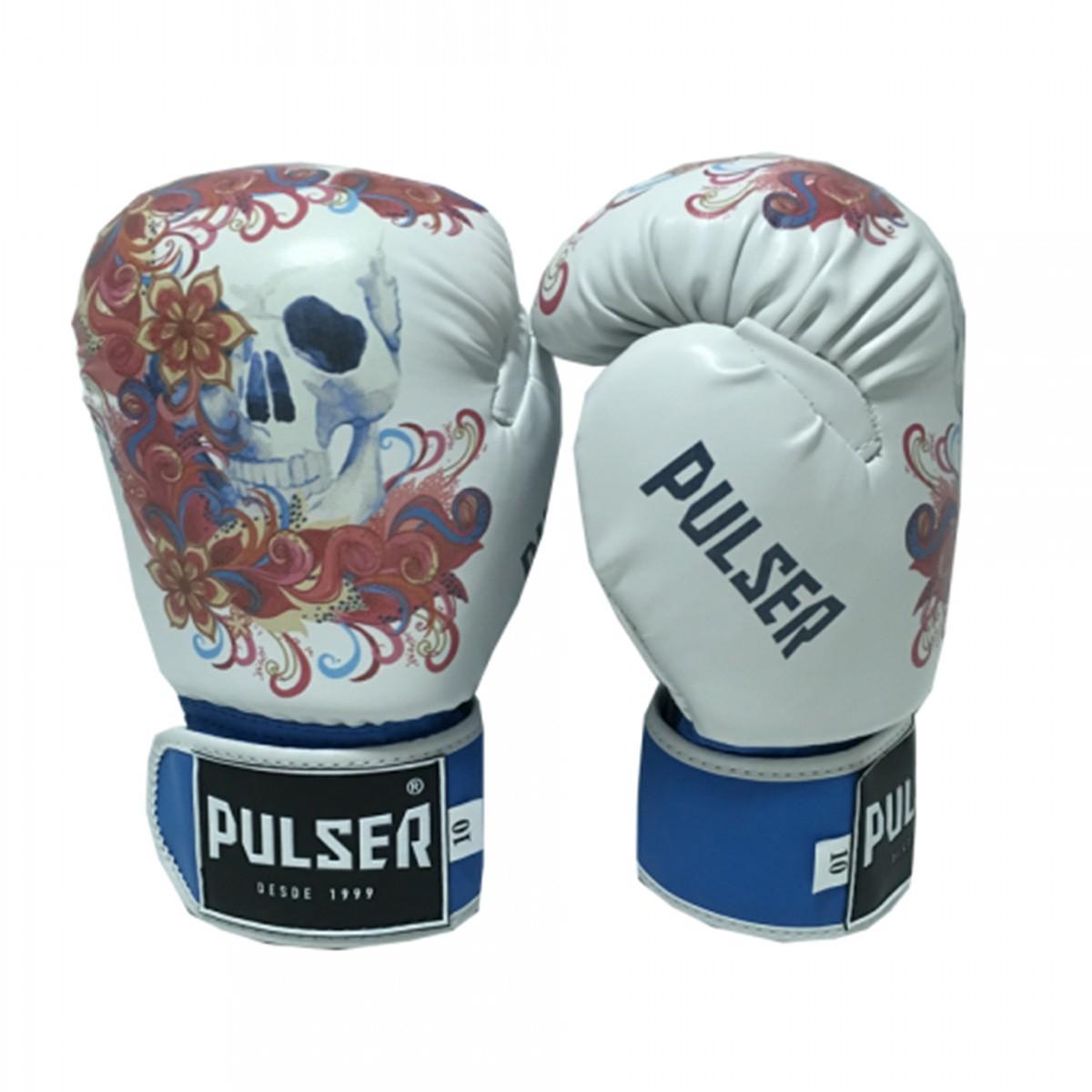 Luva de Boxe / Muay Thai 10oz Feminina - Caveira Azul Floral - Pulser  - PRALUTA SHOP