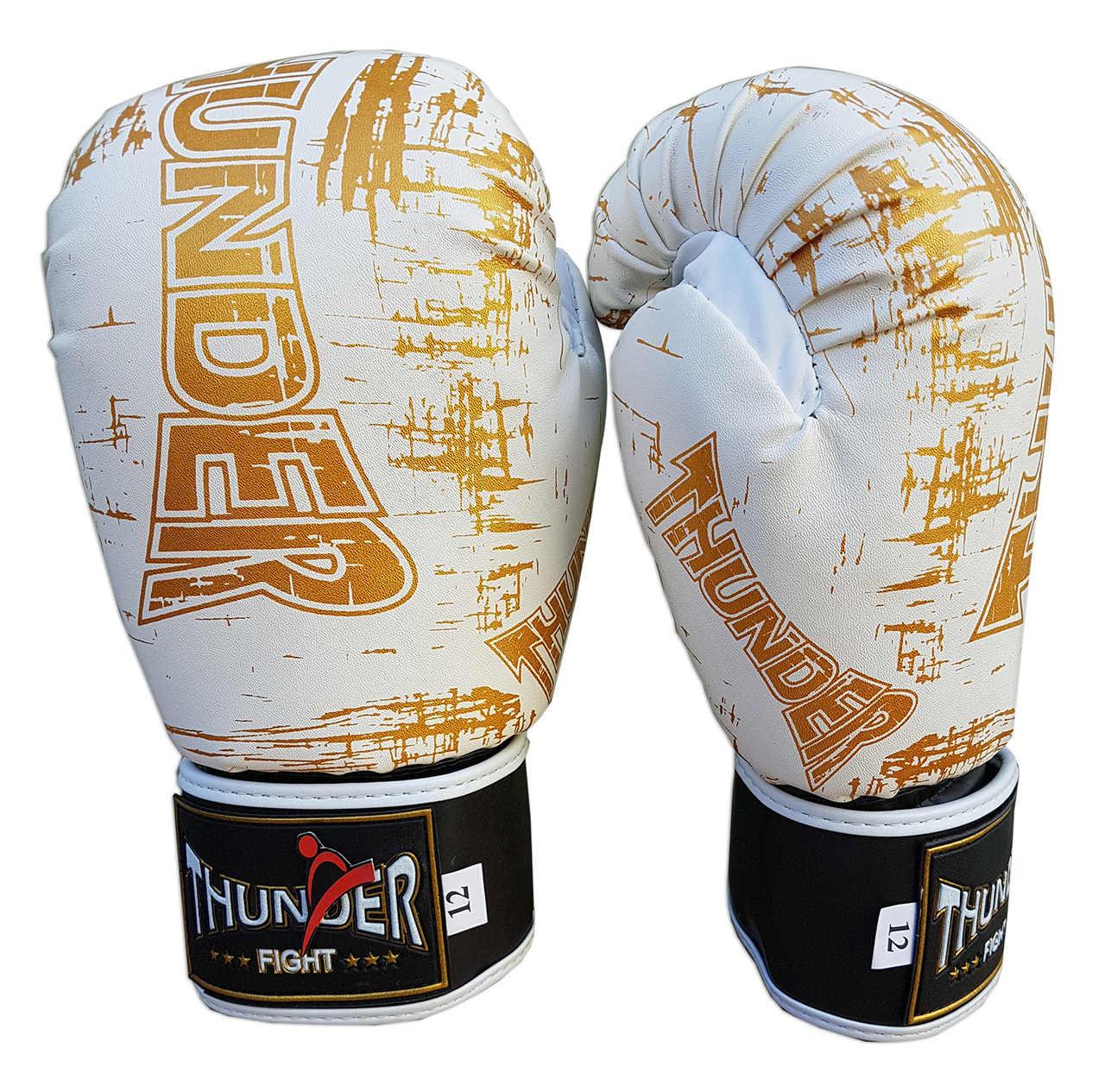 Luva de Boxe / Muay Thai 12oz - Branco Riscado - Thunder Fight  - PRALUTA SHOP