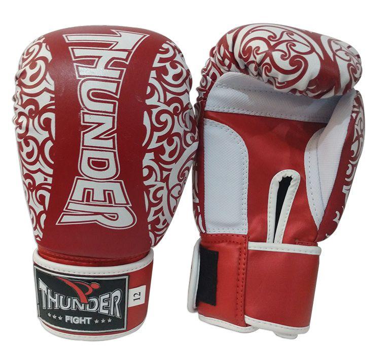 Luva de Boxe / Muay Thai 12oz - Vermelho com Branco Maori - Thunder Fight  - PRALUTA SHOP