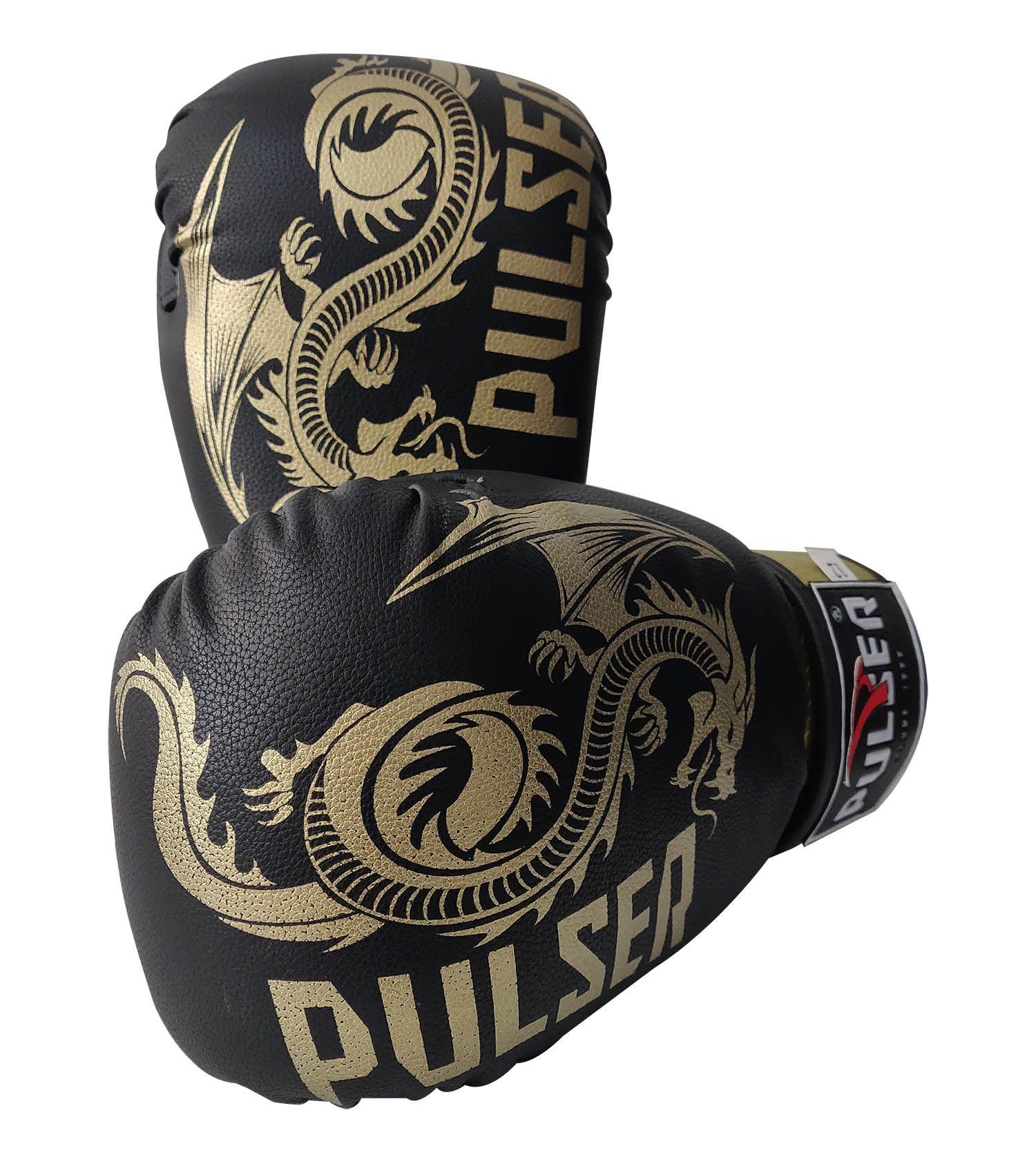 Luva de Boxe / Muay Thai 12oz - Dragão Preto e Dourado New -Pulser  - PRALUTA SHOP