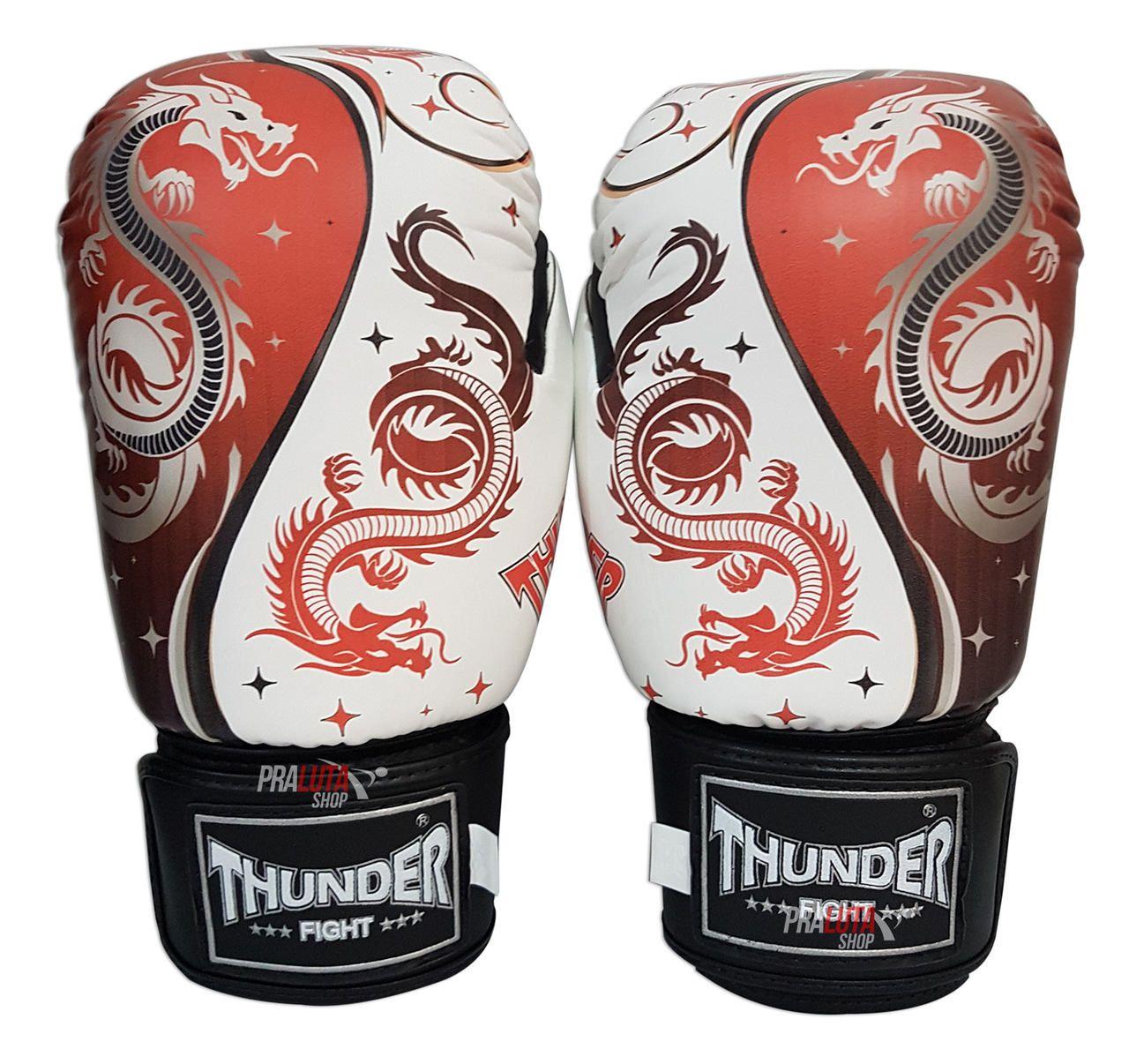 Luva de Boxe / Muay Thai 12oz - Dragão Vermelho - Thunder Fight  - PRALUTA SHOP
