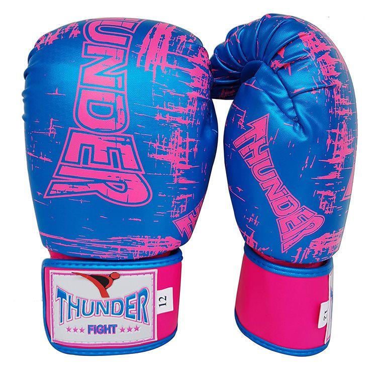 1c1178c4f Luva de Boxe   Muay Thai 12oz Feminina - Azul Riscado Rosa - Thunder Fight  ...