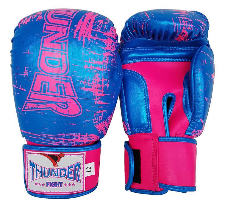 Luva de Boxe / Muay Thai 12oz Feminina - Azul Riscado Rosa - Thunder Fight  - PRALUTA SHOP