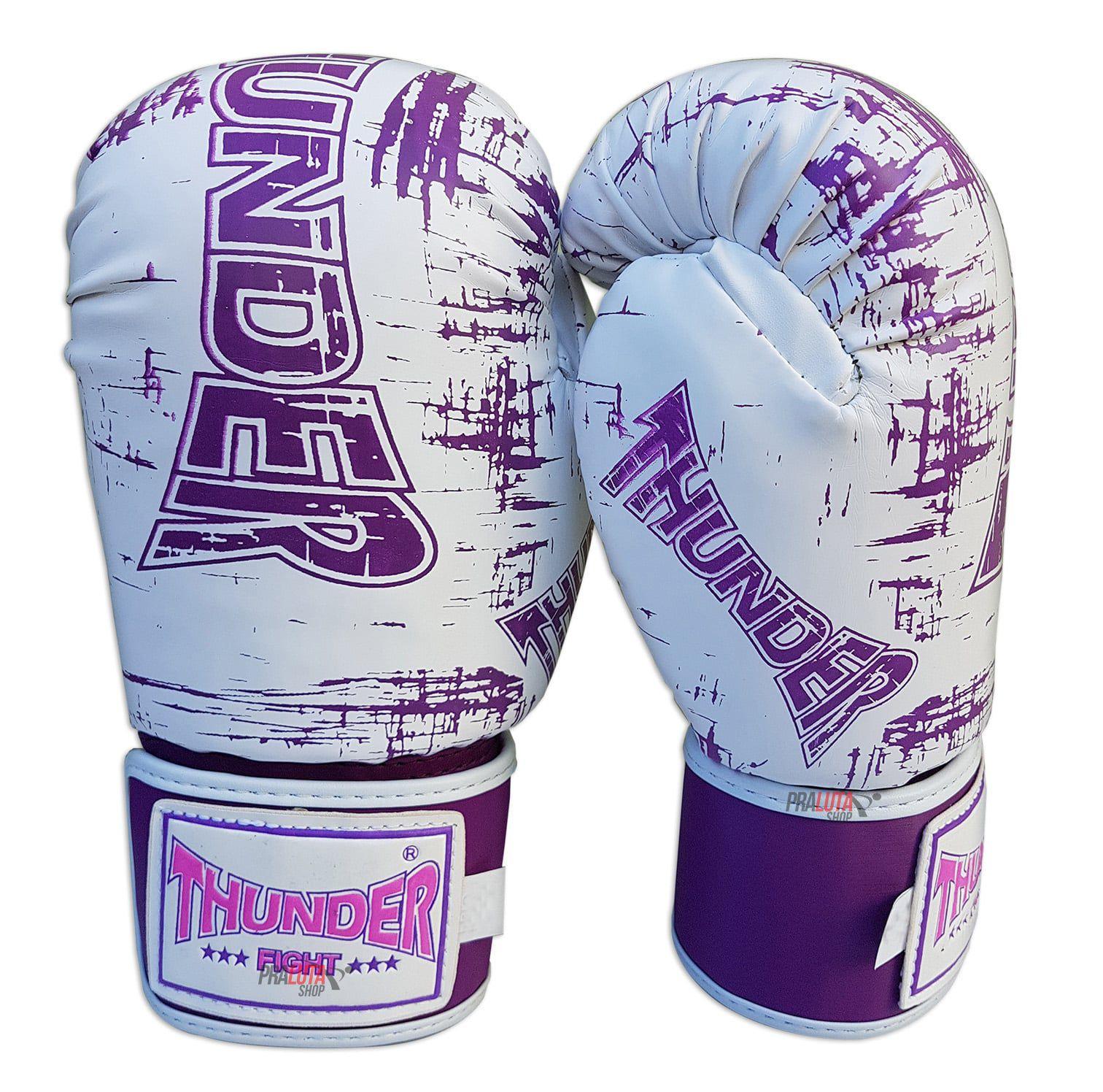 bc2b153d6 Luva de Boxe   Muay Thai 12oz Feminina - Branco Riscado Lilás - Thunder  Fight ...