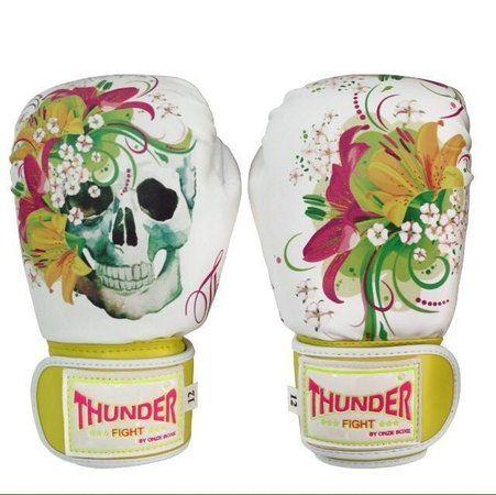 Luva de Boxe / Muay Thai 12oz Feminina - Caveira Amarela - Thunder Fight  - PRALUTA SHOP