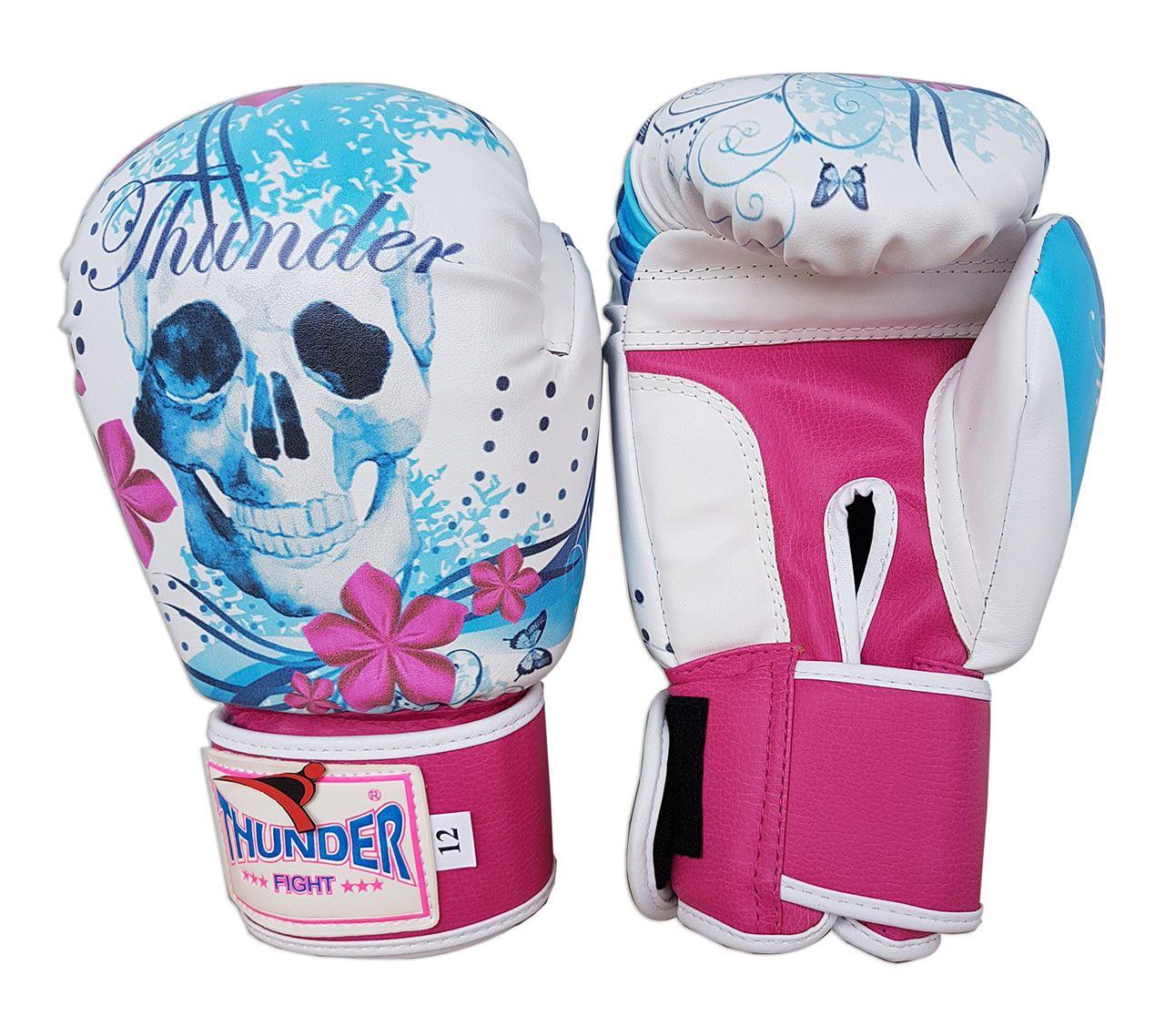 Luva de Boxe / Muay Thai 12oz Feminina - Caveira Azul com Rosa - Thunder Fight  - PRALUTA SHOP