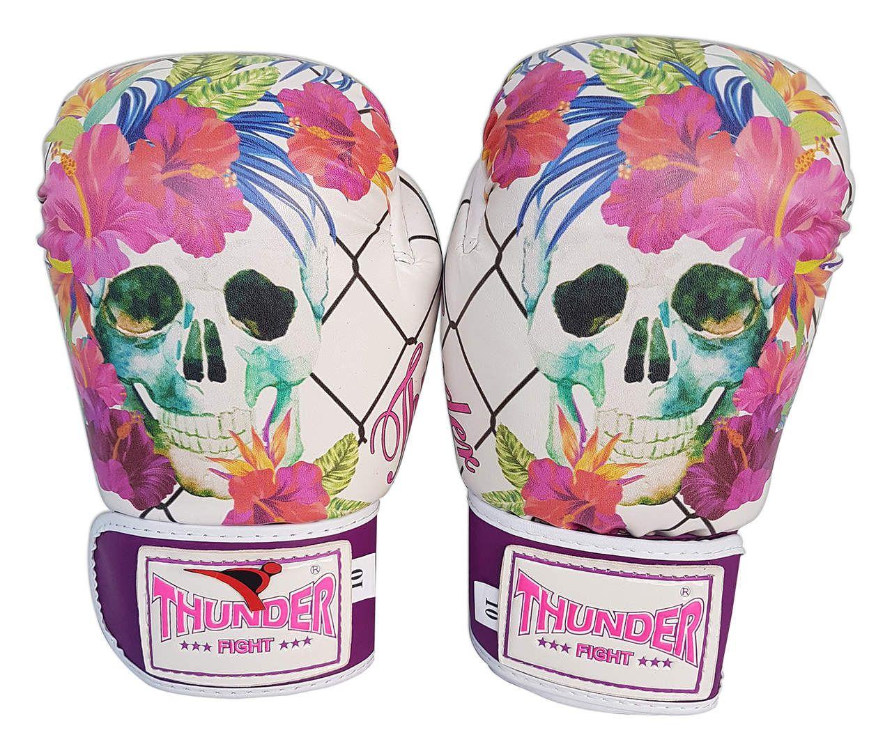 Luva de Boxe / Muay Thai 12oz Feminina - Caveira Grade - Thunder Fight  - PRALUTA SHOP