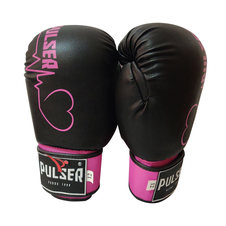 Luva de Boxe / Muay Thai 12oz Feminina - Preto e Rosa Coração - Pulser  - PRALUTA SHOP