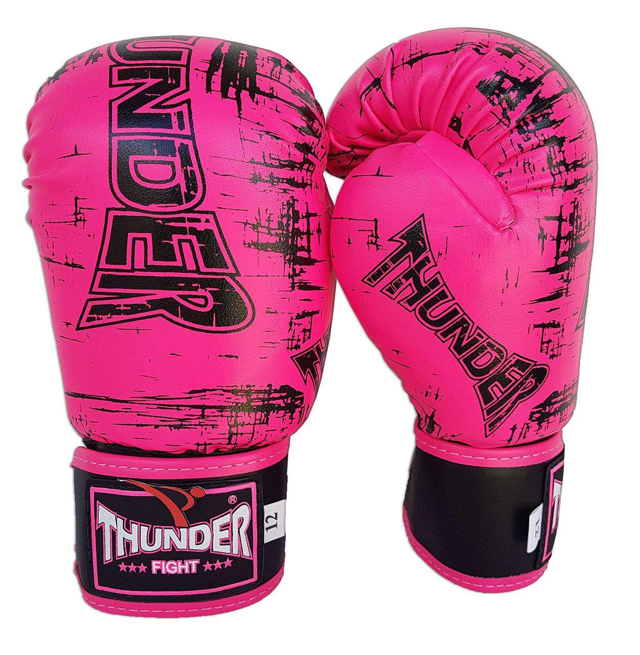 Luva de Boxe / Muay Thai 12oz Feminina - Rosa Riscado - Thunder Fight  - PRALUTA SHOP