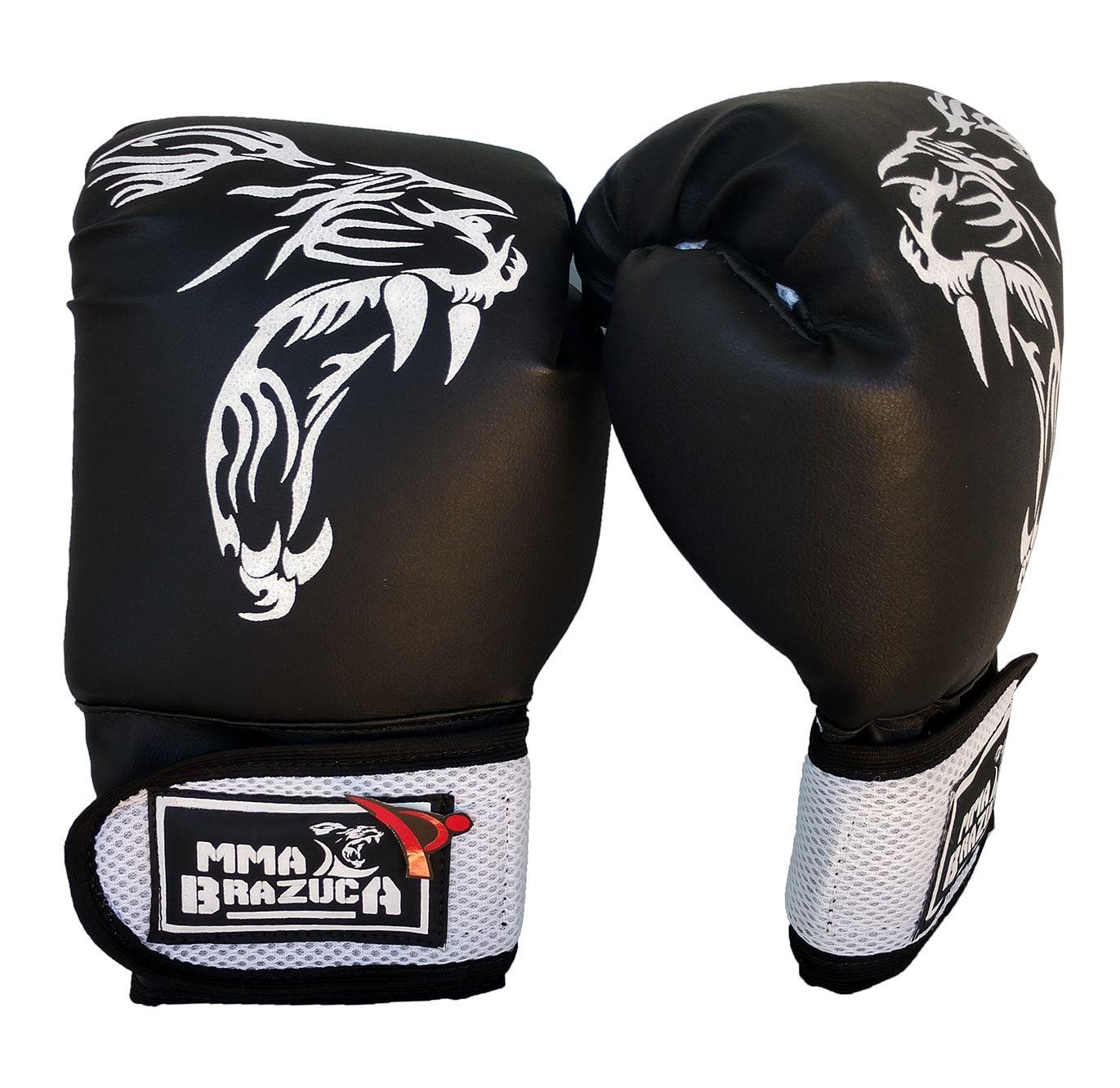 Luva de Boxe / Muay Thai 12oz - Preto com Branco - MMA Brazuka  - PRALUTA SHOP