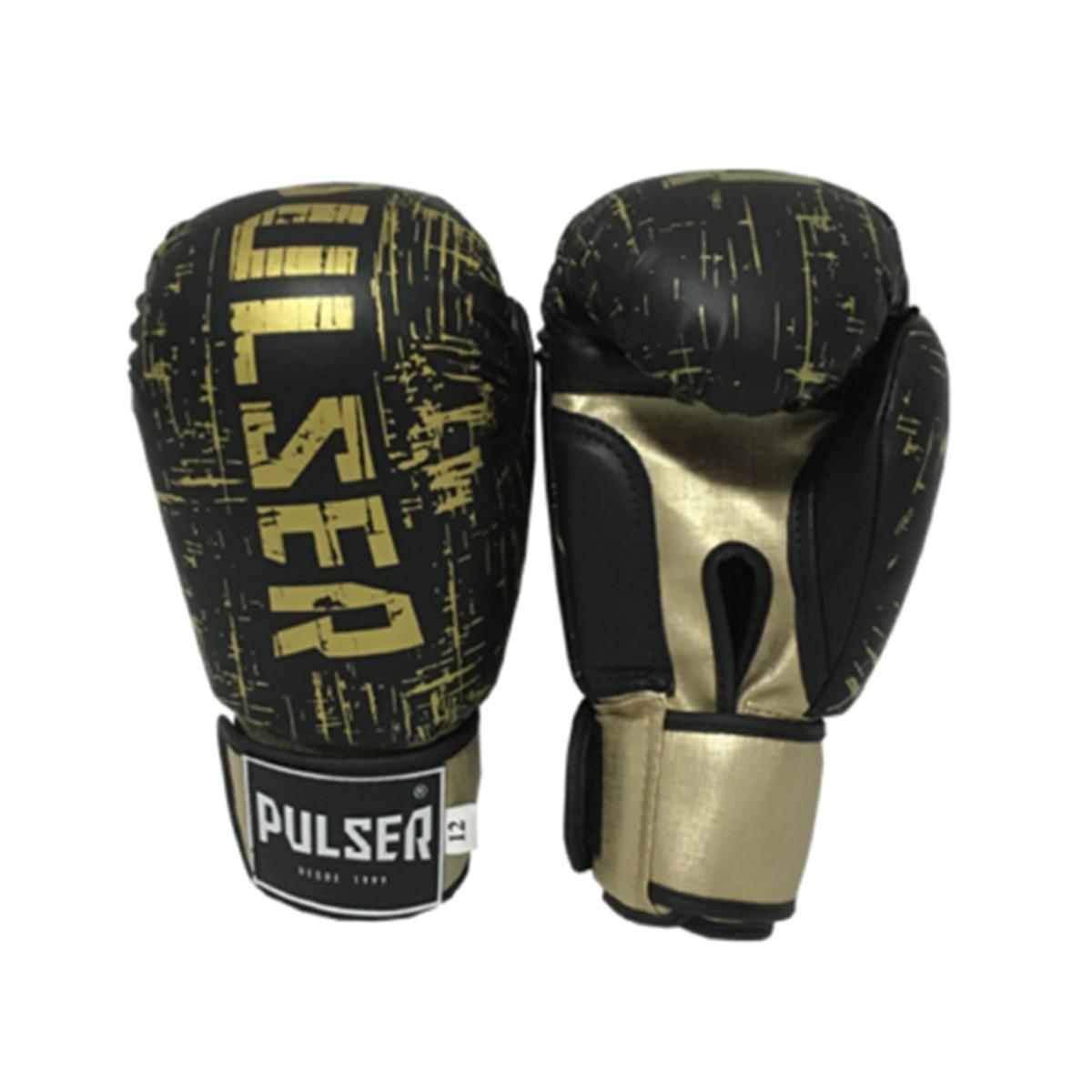 Luva de Boxe / Muay Thai 12oz - Preto e Dourado Riscado  - Pulser  - PRALUTA SHOP