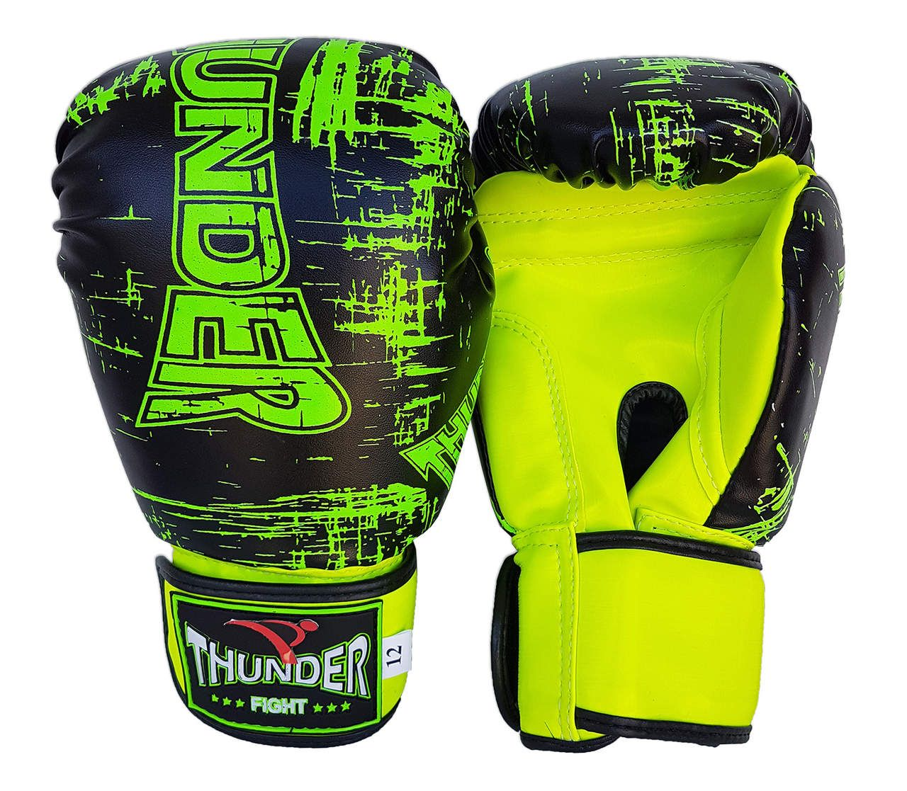 Luva de Boxe / Muay Thai 12oz - Preto Riscado Verde - Thunder Fight - PRALUTA SHOP