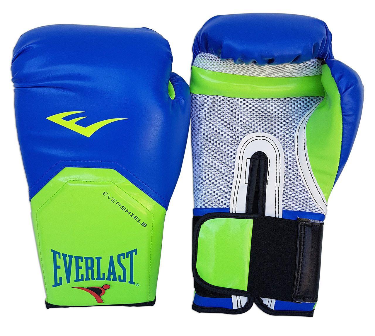 Luva de Boxe / Muay Thai 14oz - Azul com Verde - Pro Style - Everlast  - PRALUTA SHOP