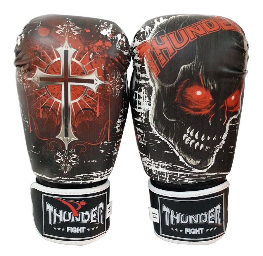 Luva de Boxe / Muay Thai 14oz - Caveira e Cruz PT/BR - Thunder Fight  - PRALUTA SHOP