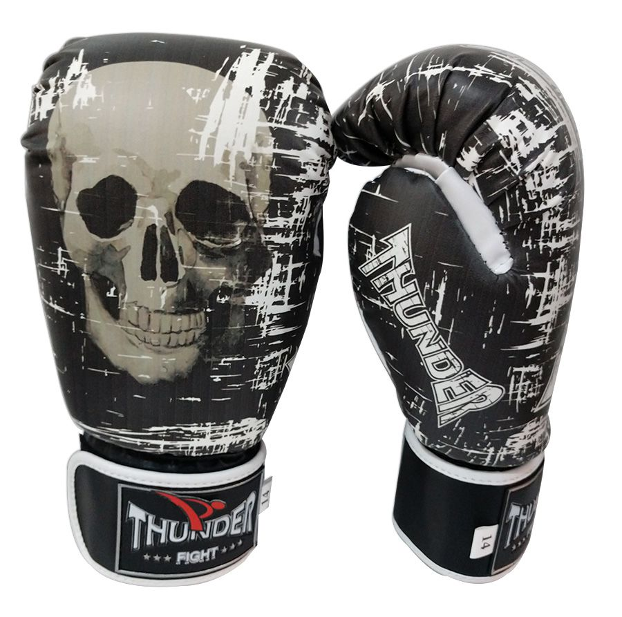 Luva de Boxe / Muay Thai 14oz - Caveira PT/BR - Thunder Fight  - PRALUTA SHOP