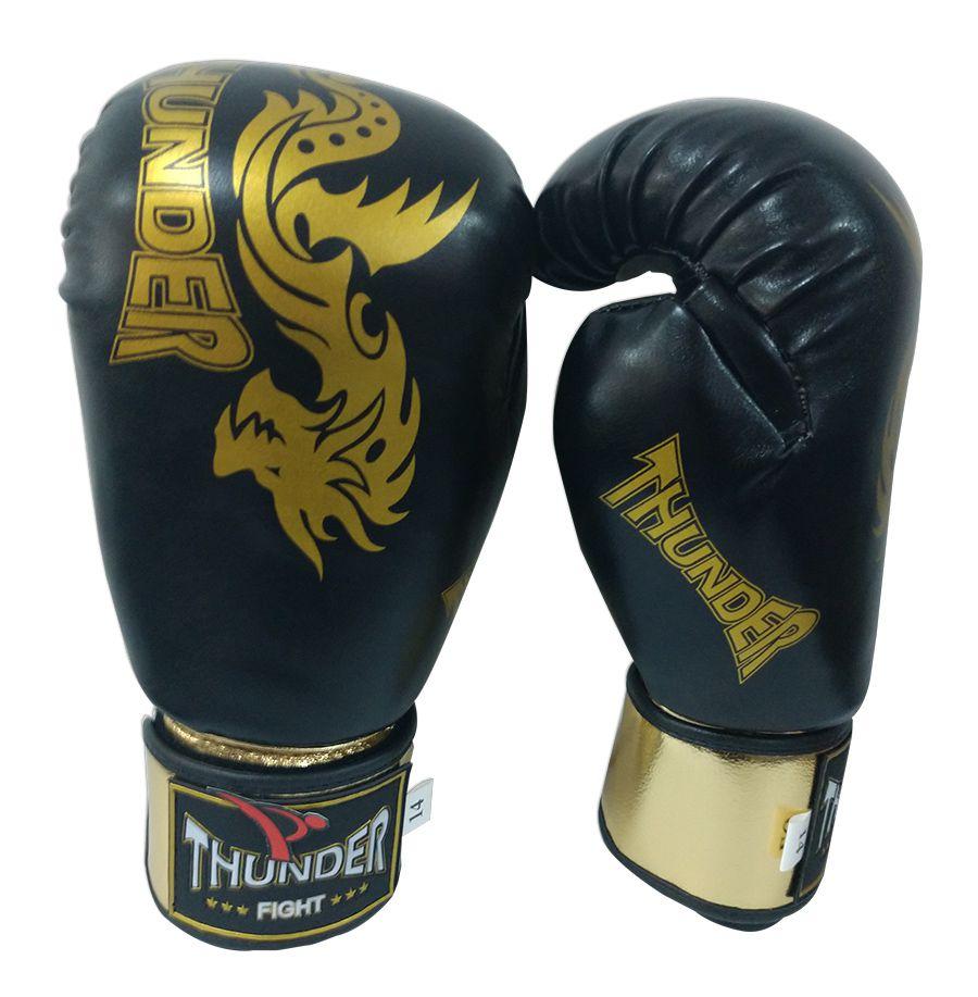 Luva de Boxe / Muay Thai 14oz - Dragão Preto com Dourado - Thunder Fight  - PRALUTA SHOP