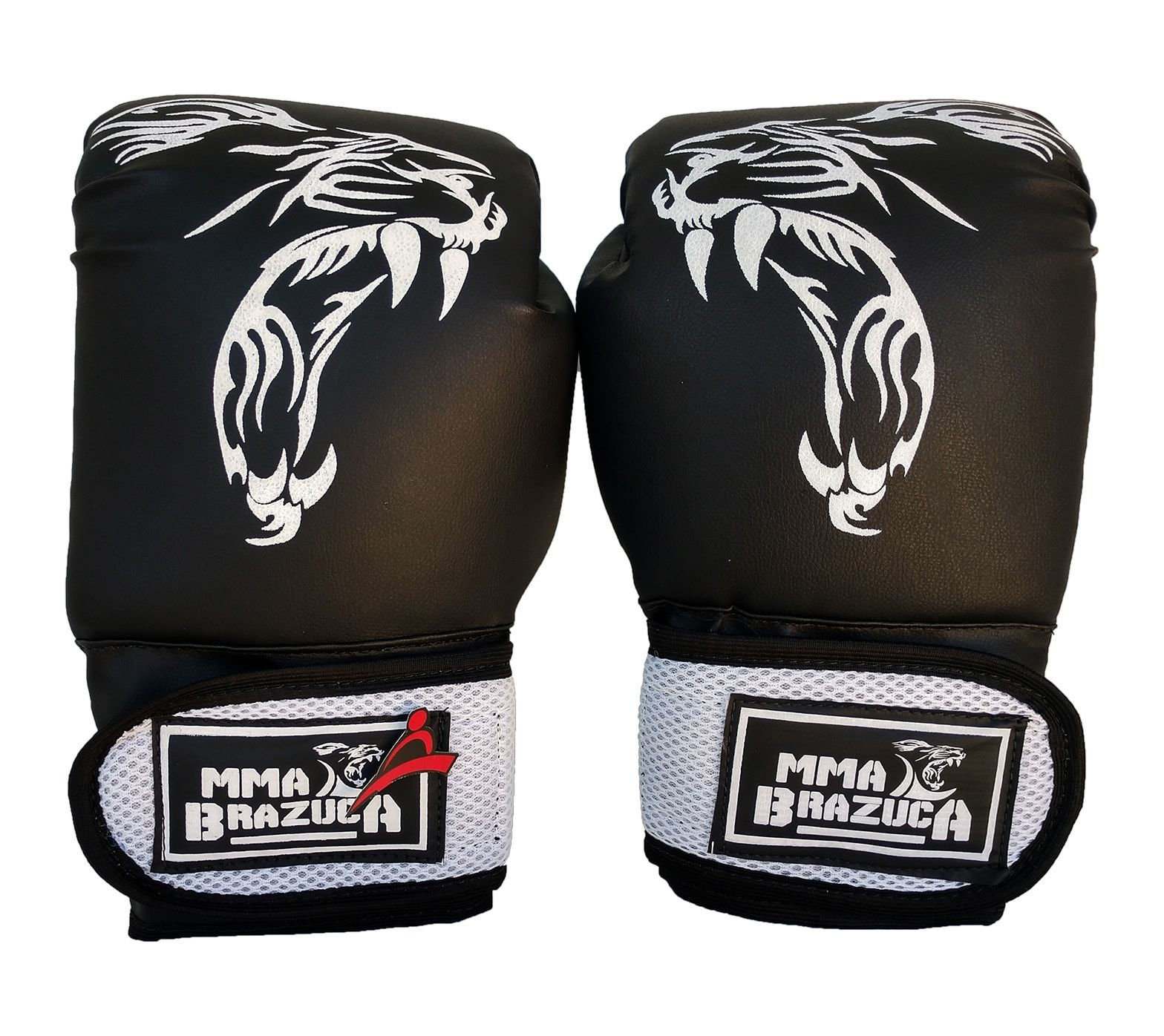 Luva de Boxe / Muay Thai 14oz - Preto com Branco - MMA Brazuka  - PRALUTA SHOP