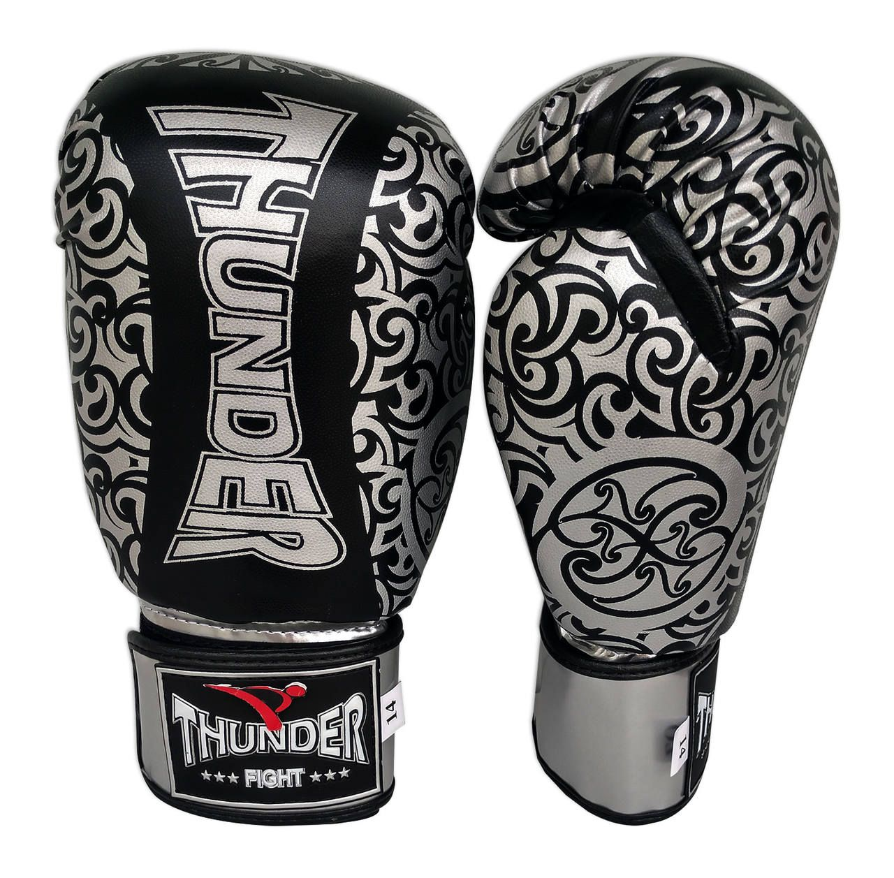 Luva de Boxe / Muay Thai 14oz - Preto Com Prata Maori - Thunder Fight  - PRALUTA SHOP
