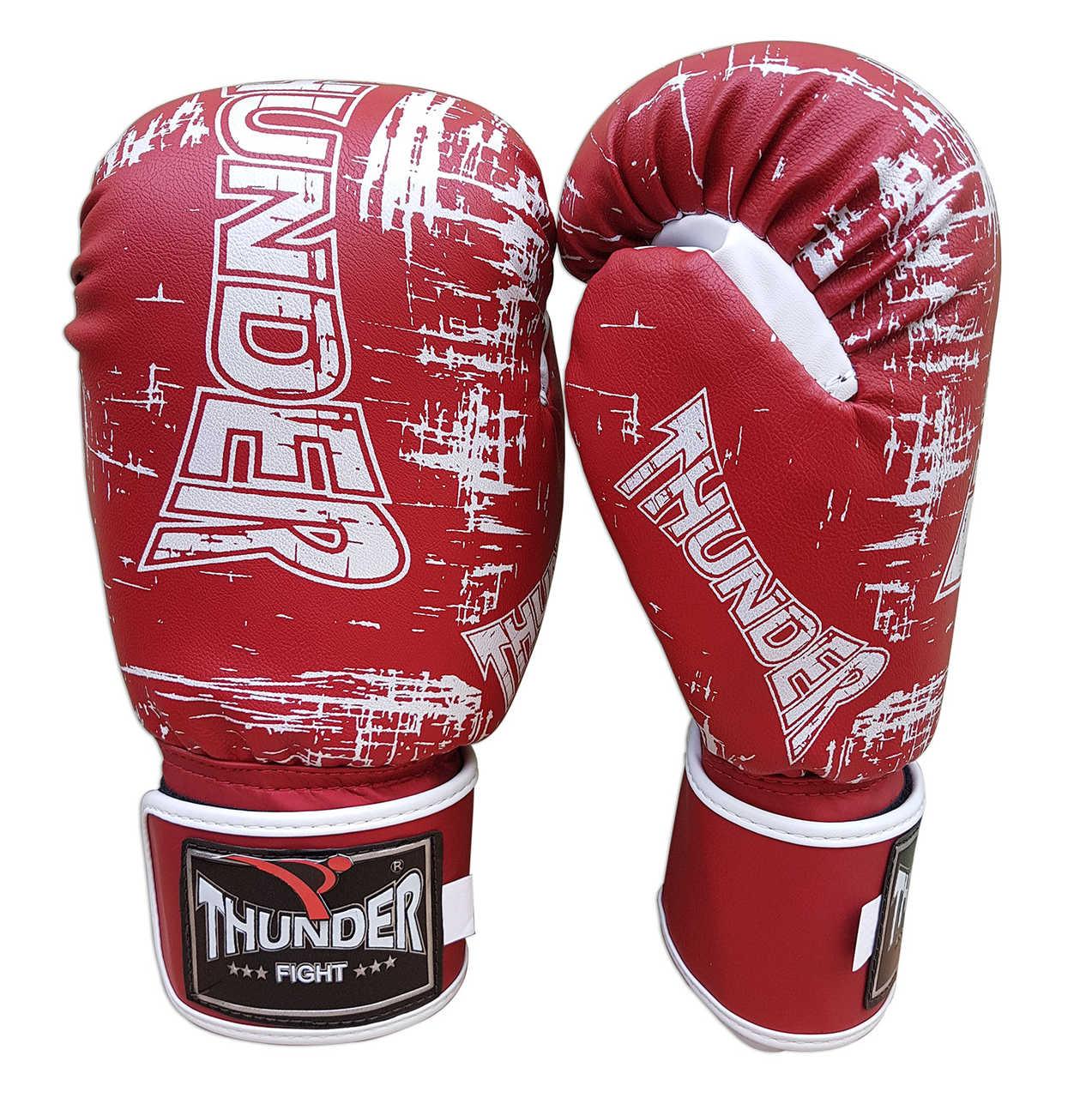 Luva de Boxe / Muay Thai 14oz - Vermelho Riscado - Thunder Fight  - PRALUTA SHOP