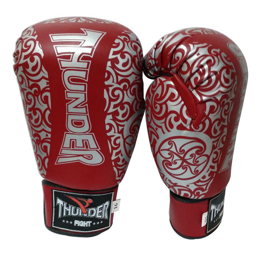 Luva de Boxe / Muay Thai 16oz - Vermelho com Prata Maori - Thunder Fight  - PRALUTA SHOP