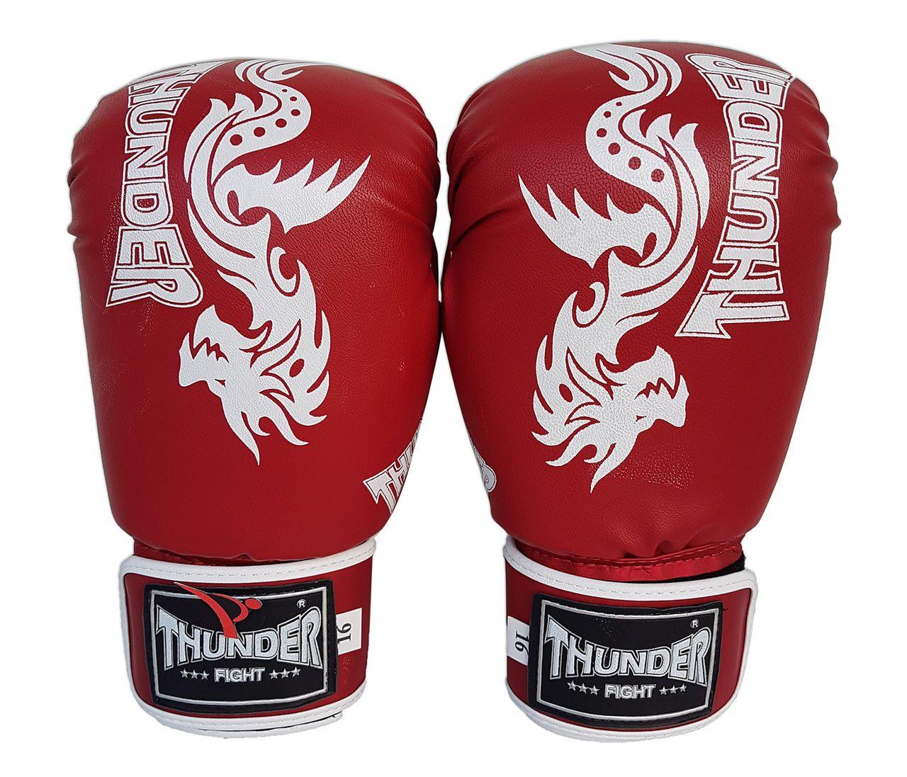 Luva de Boxe / Muay Thai 16oz - Vermelho Dragão - Thunder Fight  - PRALUTA SHOP