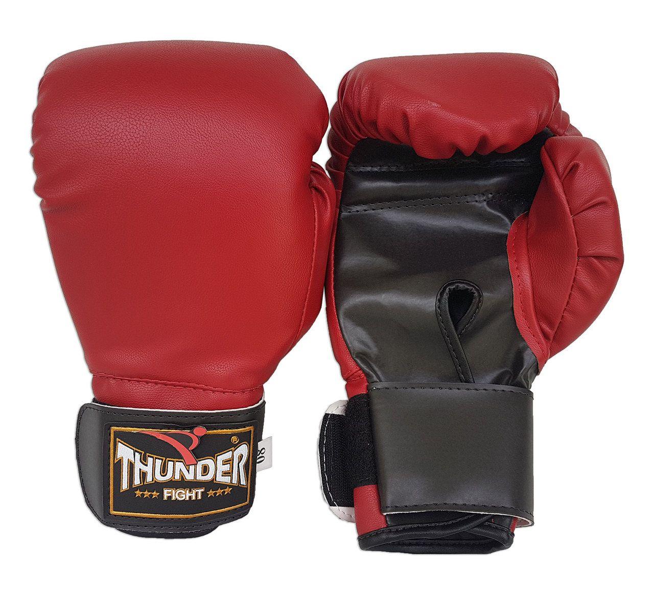 Luva de Boxe / Muay Thai 8oz - Vermelho - Thunder Fight  - PRALUTA SHOP