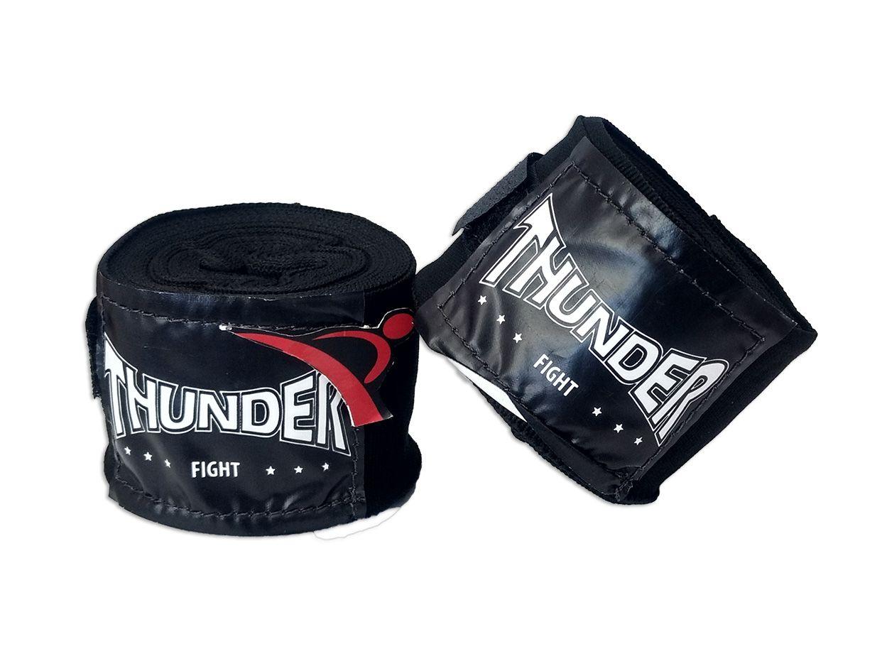 Par De Bandagem Atadura Elástica 3 Metros Muay Thai Boxe - Preto - Thunder Fight  - PRALUTA SHOP