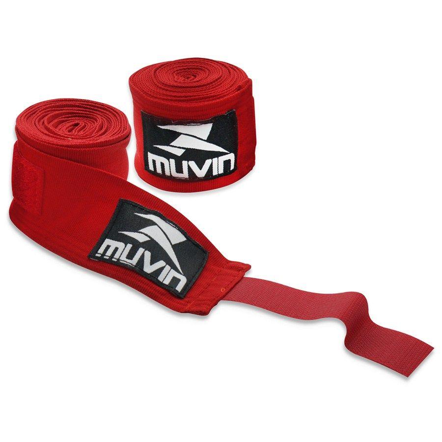 Par De Bandagem Atadura Elástica 3 Metros Muay Thai Boxe - Vermelho - Muvin  - PRALUTA SHOP