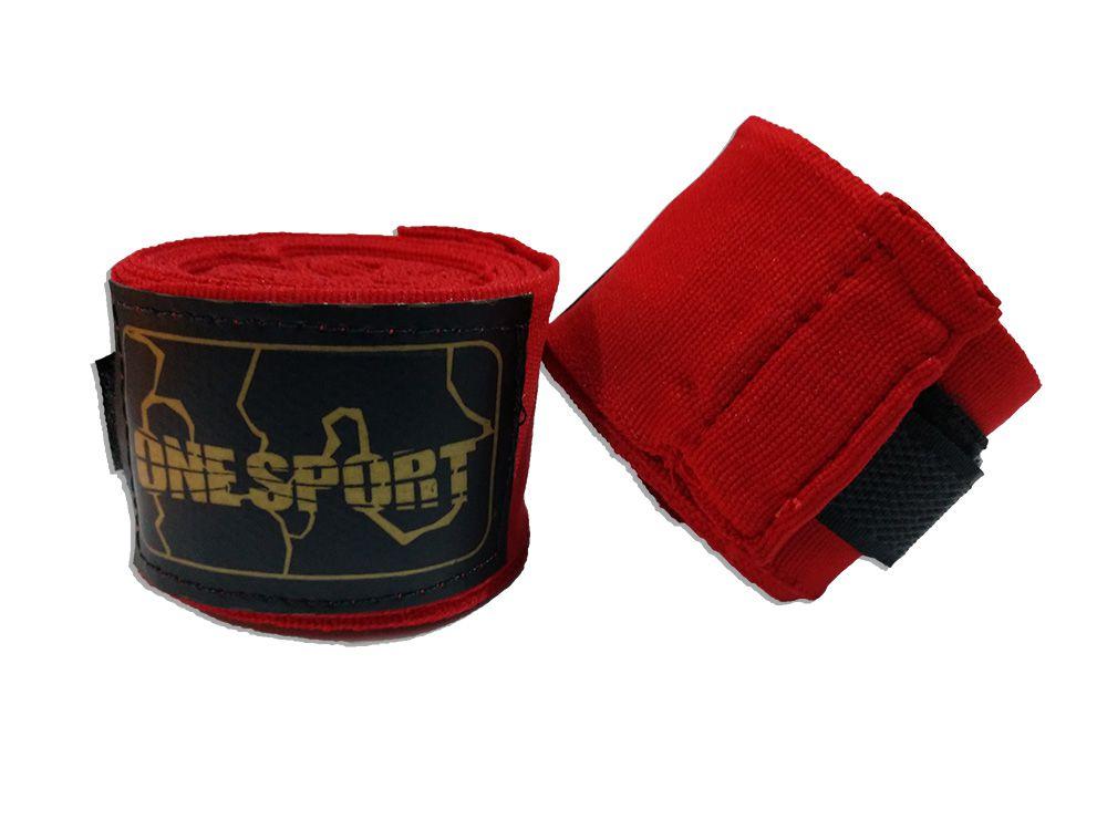 Par De Bandagem Atadura Elástica 3 Metros Muay Thai Boxe - Vermelho - One Sport  - PRALUTA SHOP